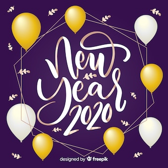 Happy new year 2020 lettering  with balloons