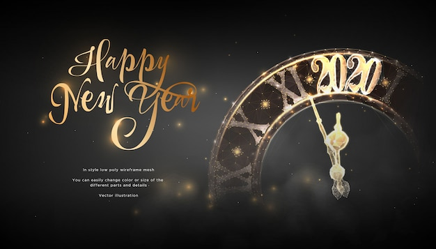 Happy new year 2020. lock in style low poly wireframe