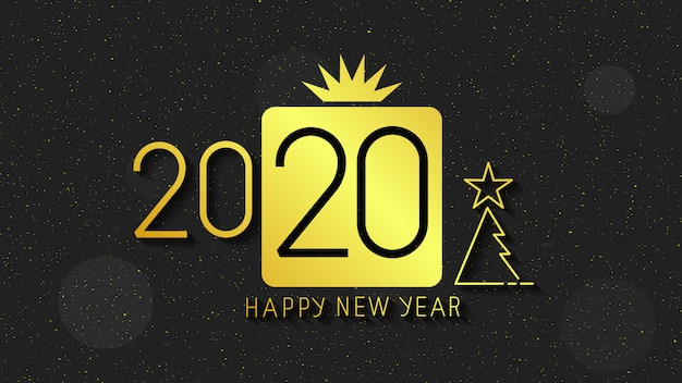 Happy new year 2020 logo text . cover of business diary for 2020 with wishes.