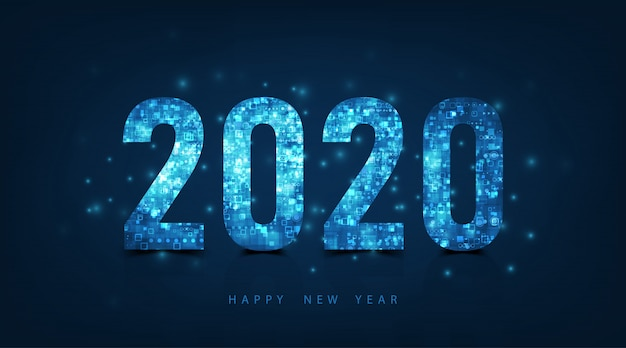 Happy new year 2020 logo text design. vector luxury text 2020 on dark blue color background.