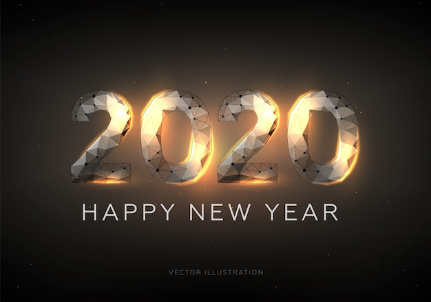 Happy new year 2020, low poly wireframe style