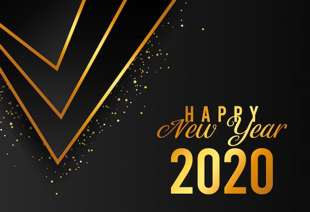 Happy new year 2020 luxury abstract shape