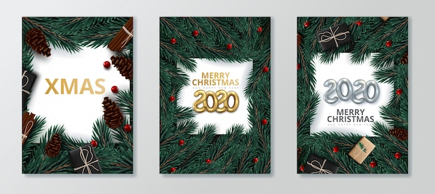 Happy new year 2020 and merry christmas greeting card set