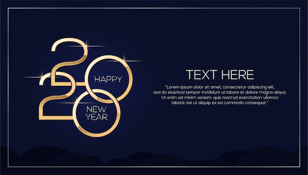 Happy new year 2020 , minimalistic template with gold text