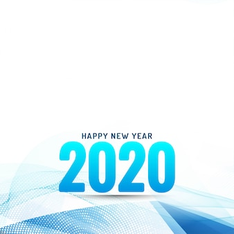 Happy new year 2020 modern wavy background