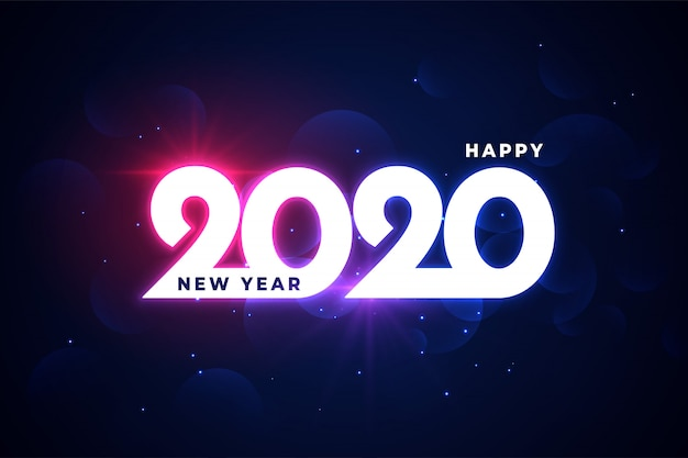 Happy new year 2020 neon shiny glowing greeting
