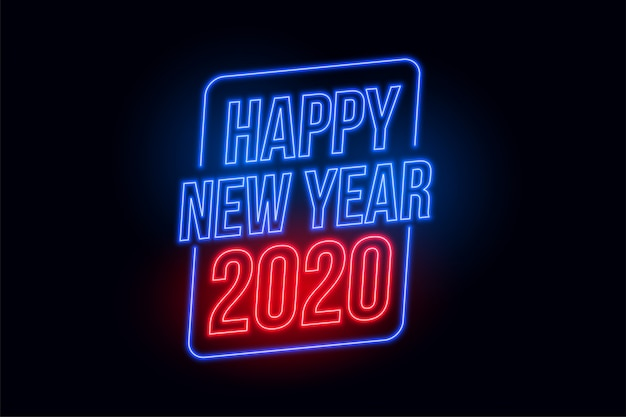 Happy new year 2020 in neon style