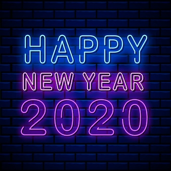 Happy new year 2020 neon