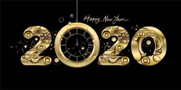 Happy new year 2020 - new year black