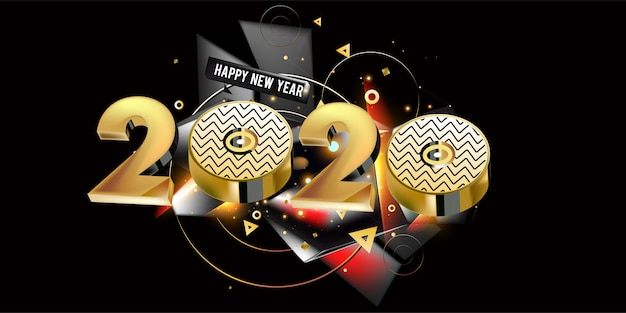 Happy new year 2020 new year golden shining banner