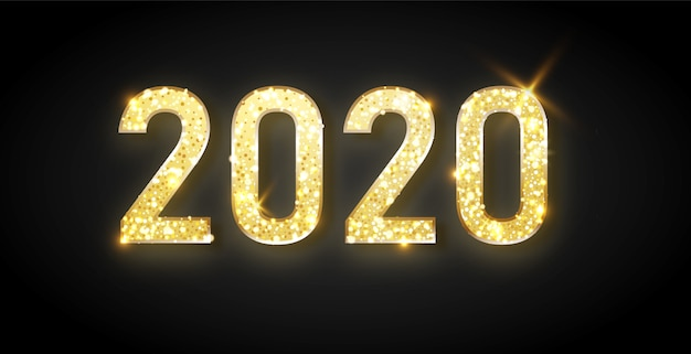 Happy new year 2020 - new year shining with gold clock and glitter.