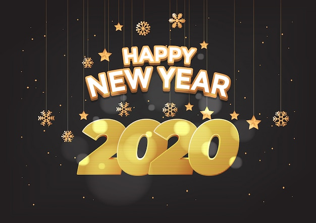 Happy new year 2020 numbers typography greeting card