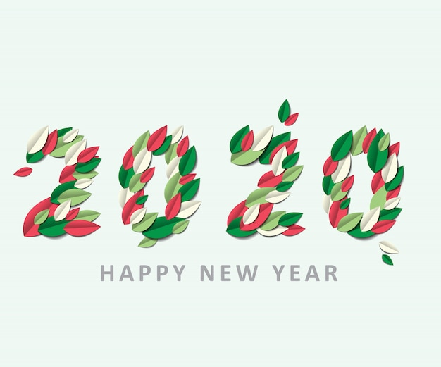 Happy new year 2020 on paper cut leave