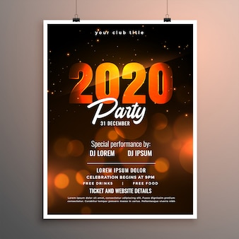 Happy new year 2020 party celebration flyer or poster template