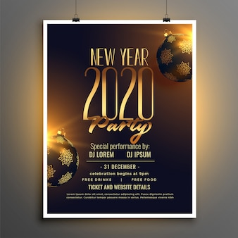 Happy new year 2020 party flyer or poster  template