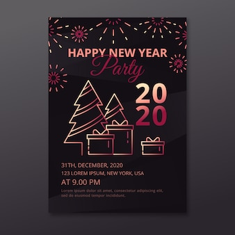 Happy new year 2020 party poster with trees