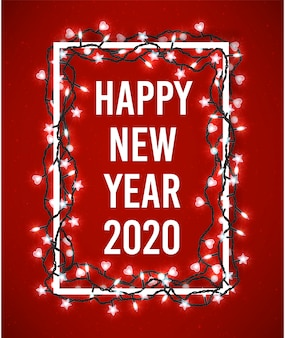 Happy new year 2020 poster with christmas sparkling lights