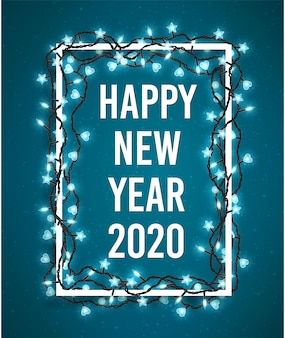 Happy new year 2020 poster with christmas sparkling lights.