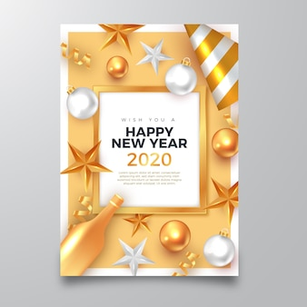 Happy new year 2020 poster with realistic golden decorations