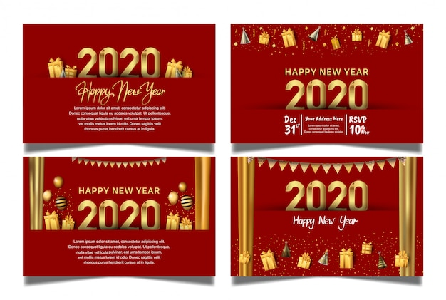 Happy new year 2020 red background set with hanging ball, gift box, balloon, and glitter