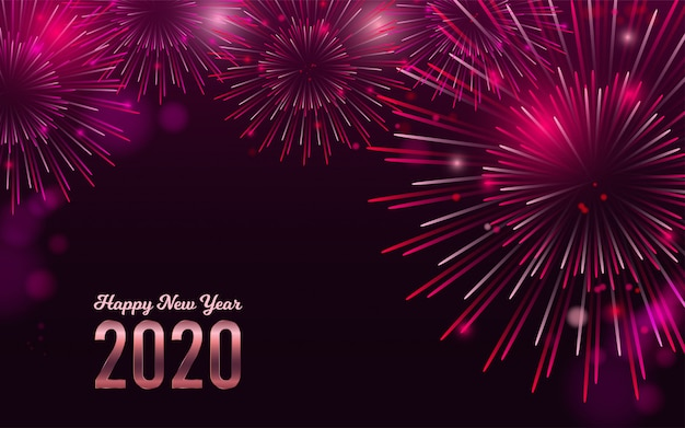 Happy new year 2020 red fireworks bacground