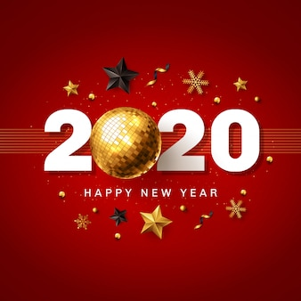 Happy new year 2020 red and golden