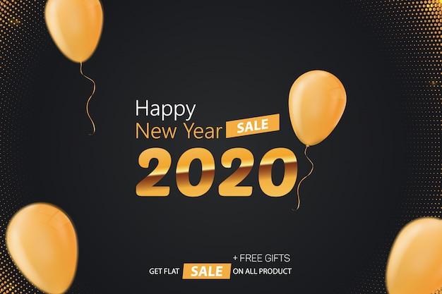 Happy new year 2020 sale background illustration