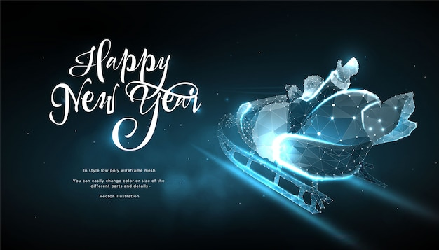 Happy new year 2020. santa claus in sleigh in style low poly wireframe