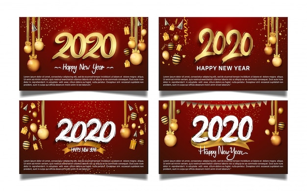 Happy new year 2020 set for banner