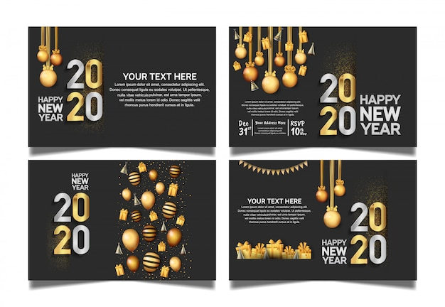 Happy new year 2020 set flat background for greeting card