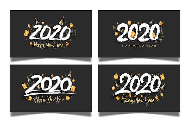 Happy new year 2020 set with black color background