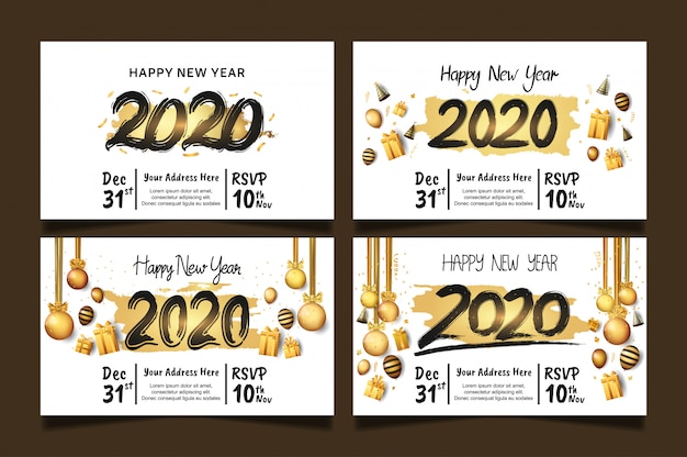Happy new year 2020 set with golden brush