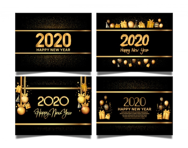 Happy new year 2020 set with golden color premium edition