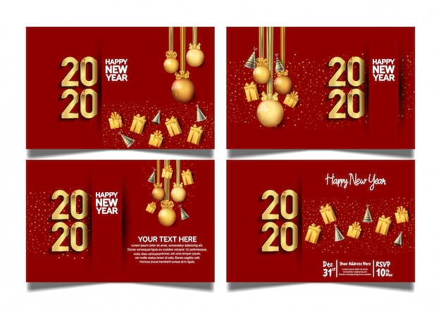 Happy new year 2020 set with premium red background