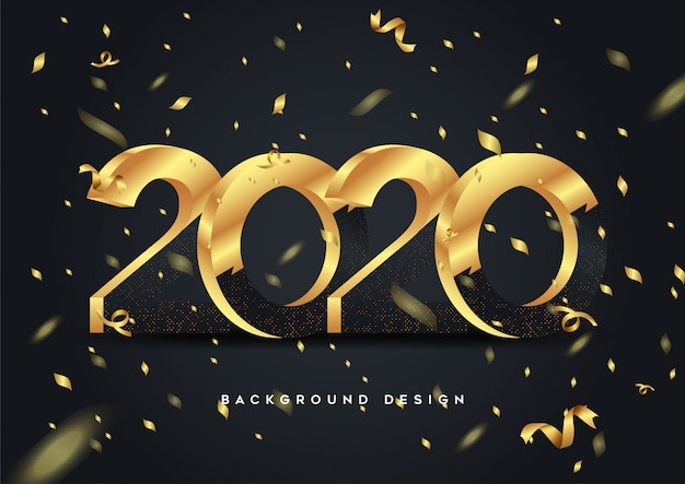 Happy new year 2020 shining background