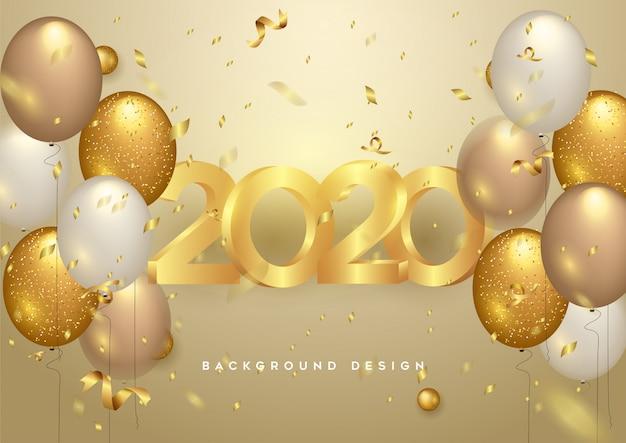 Happy new year 2020 shining background