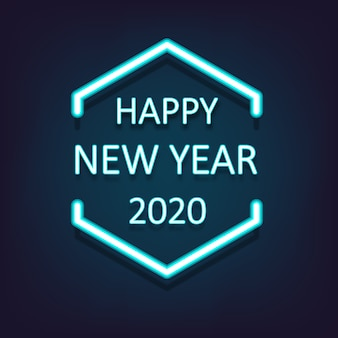 Happy new year 2020 shining neon light background. vector illustration.