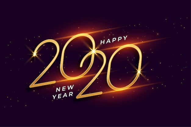 Happy new year 2020 shiny golden celebration background