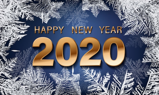 Happy new year 2020. snowflake decoration effect. christmas snow flake