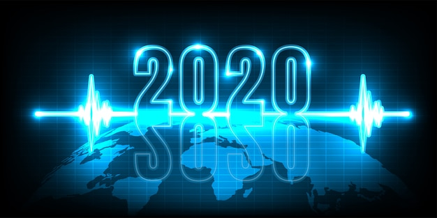 Happy new year 2020. technology abstract with glowing neon light on earth