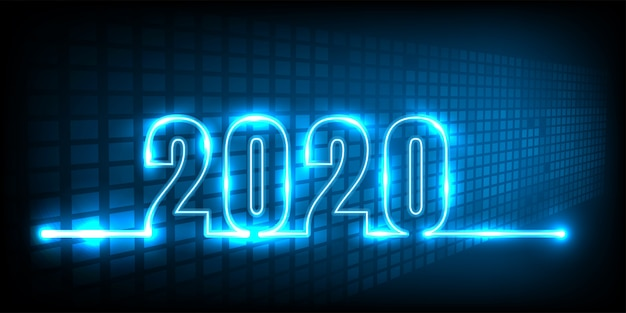 Happy new year 2020. technology abstract
