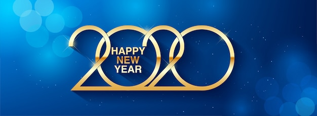 С новым годом 2020 текст дизайн приветствие иллюстрация с золотыми номерами