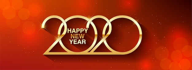 Happy new year 2020 text design greeting illustration with golden numbers
