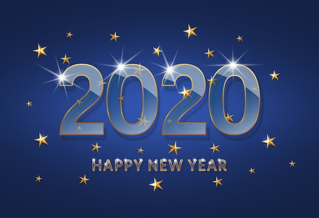 Happy new year 2020. transparent glass font with a gold outline on a dark blue background.