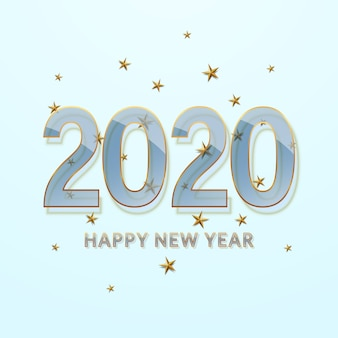 Happy new year 2020. transparent glass font with a gold outline.