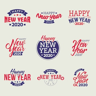 Happy new year 2020 typographic emblems set