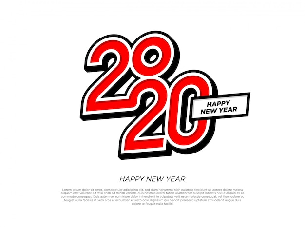 Happy new year 2020 typography element