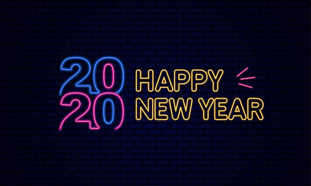 Happy new year 2020 typography glowing neon light