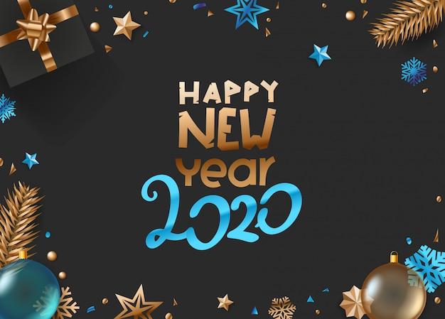 Happy new year 2020 vector greeting card template