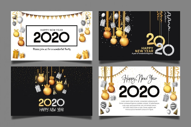 Happy new year 2020. vector set for celebration